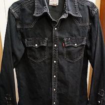 Levi's Authentic Jeans Wear Black Denim L/s Pearl Snap Western Shirt Mens Size M Photo