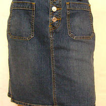 Levi's Blue Denim Button Fly Skirt 12 34 Waist Photo