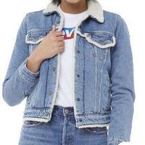 Levi's Denim Jacket Original Sherpa Trim Trucker Womens Ladies Blue Size Xs Photo