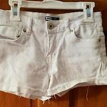 Levi's Girls' Denim Shorty Shorts White Fringe 10 Reg Adjustable Waist Photo