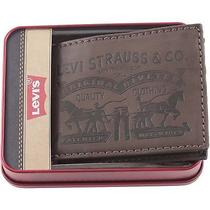 Levi's Logo Mens Brown Leather Id Card Wallet Passcase Bifold Billfold W/ Tin Photo