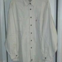 Levi's Long Sleeve Denim Shirt Ivory Red Tab Size L Photo
