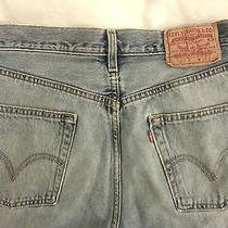 Levi's Men's 501 Jeans Button Fly Light Distress 32x32 Levi Strauss Straight Leg Photo