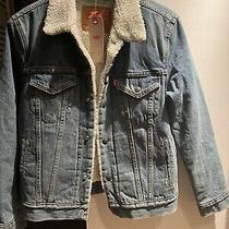 Levi's Men's Size Xs Sherpa Lined Blue Denim Trucker Jacket Photo