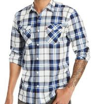 Levi's Mens Shirt Blue Size Small S Button Down Clemente Plaid Pockets 54 206 Photo