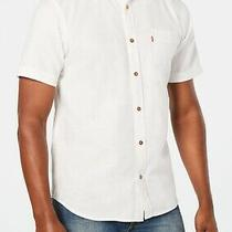 Levi's Mens Shirt White Size 2xl Seoul Speckled Pocket Button Down 44 188 Photo