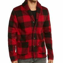 Levi's Mens Sweater Red Size Large L Shawl Collar Plaid Button Front 74 172 Photo