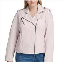 Levi's Moto Jacket Blush Pink Size 2x Plus Faux Leather Photo