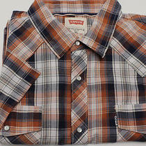 Levi's Pearl Snap Men's Short Sleeve Shirt Sz Xl Blue/orange Plaid Photo