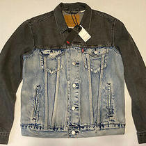 Levi's Premium Colorblock Denim Trucker Jacket Mens Sz M Blue/black Msrp 110.00 Photo