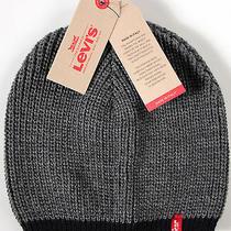 Levi's Skully Beanie- New -Italian Made Knit Hat- Nwt - Gray/navy Photo