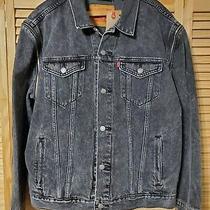 Levi's Trucker Zip-Off Black Denim Jean Jacket Mens Size Xl - 80s Retro - New Photo