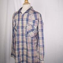 Levi's Western Wear Pearl Snap Shirt Button Front Blue Red Green Stripe 17-34 Us Photo
