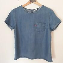 Levi's Women's Top Pullover Shirt Blouse Short Sleeve Denim Small Blue Chambray  Photo