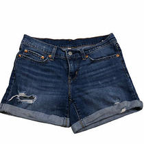 Levi Strauss & Co Womens Sz 27 Blue Distressed Rolled Hem Pocket Denim Shorts O1 Photo