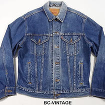 Levi Strauss Distressed Denim Jean Jacket Western Cowboy Rodeo Men's L 22512 Photo
