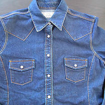 Levi Strauss Signature Stretch Denim Jean Women's Shirt Snaps L/s  Sz L  New Photo