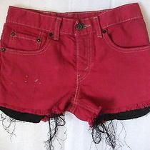 Levi Vintage Size 6 Red Distressed Grunge Low Waisted Waist Denim Shorts Photo