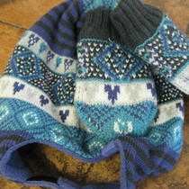 Levis-2 Piece Set-Hat &mitts-12/24 M-Blue/aqua/black-Lined-Striped-Fairisle-New  Photo