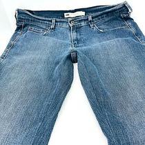 Levis 505 Jeans Size 10 Short Stretch Straight Leg Dark Denim Wash Womans 32x27 Photo