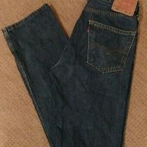 Levis 505 Straight Leg Blue Jeans Mens Size 32x35 (Measured) Photo