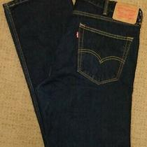 Levis 505 Straight Leg Dark Blue Jeans Mens Size 38x33 (Measured) Photo