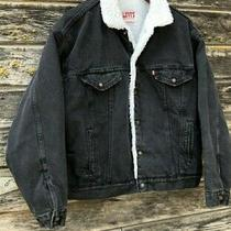 Levis Black Denim Sherpa Oversized Trucker Winter Zip Jacket Coat Xs /  Small Photo