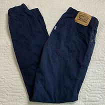 Levis Blue Denim Jogger Pants Drawstring Waist Cuffed Hem Boys Youth Size Large Photo