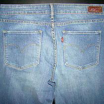 Levis Demi Curve Womans sz.10 Tall Light Stone Washed Straight Leg Denim Jeans Photo