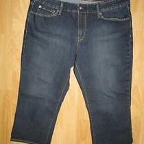 Levis Denizen Womens Modern Slim Shorts Bermuda Crop Blue Jeans Dark Size 12 Photo