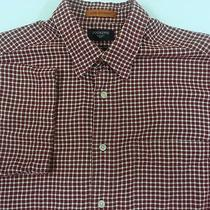 Levis Dockers Red Check Shirt Mens Size Medium Stain Defender Casual Camp Photo
