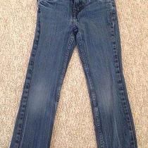 Levis Girls Blue Jeans Pink Heart Embroidery Size 6 Adjustable Waistband Photo