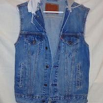 Levis Hooded Denim Jean Vest - Medium Wash Blue - Adult Size S Photo