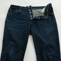 Levis Mens 501 Button Fly Straight Leg Dark Wash Denim Jeans Size 38x36 Photo