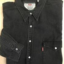 Levis Mens Black Shirt Denim Pearl Snap Long Sleeve Sz Xl Photo
