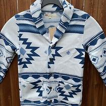 Levis Mens Cardigan Sweater Reverve Geometric Regular Fit Knit Fleece Blue Xxl  Photo