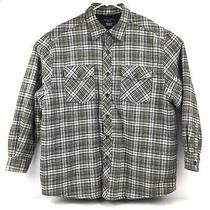 Levis Strauss & Co Flannel Plaid Shirt Jacket Quilt Lines Mens Sz Xl Green Blue Photo