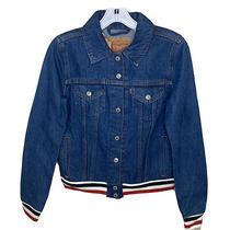 Levis Trucker Jean Jacket Original Rib Trim Red White Blue Womens New Size Xs Photo