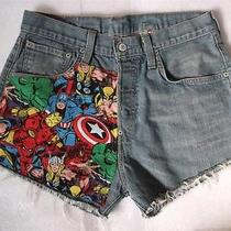 Levis Vintage Womens Size 12/14 Marvel Comic High Waisted Waist Denim Shorts Photo