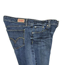 Levis Womens 518 Superlow Blue Jeans Flare Mid Rise Whisker Junior Size 11 M Photo