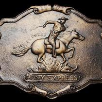 Lf29124 Vintage 1970s Pony Express Since 1852 Old West Belt Buckle Photo