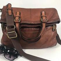 Lg Fossil Explorer Foldover Crossbody Messenger Shoulder Bag Whiskey Brown Photo