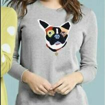 Lg Lisa Todd Frenchie Dog Sequin Thin Grey Cotton Sweater Nwt Anthropologie Photo