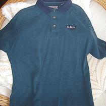Lg U S Navy Usna/ Naval Academy Navy & Green Polo Shirt Collared Cotton Like New Photo
