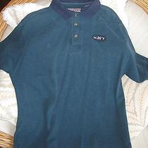 Lg U S Navy Usna/ Naval Academy Navy & Green Polo Shirt Collared Cotton Like New Photo