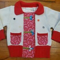 Lia Molly Baby Sweater Anthropologie 12-18 Mos Cardigan Red Floral Elephant Vguc Photo
