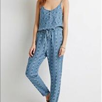 Life in Progress Jumpsuit Blue Lyocell Floral Print Size S Forever 21 Photo