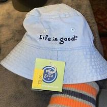 Life Is Good Blue Youth Bucket Hat Mew With Tags Nwt 12-24 Months Photo