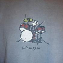 Life Is Good Drums Drummer Xl T-Shirt Graphic Tee Blue Photo