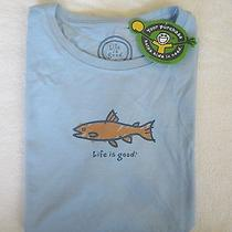 Life Is Good Fish Fishing Trout Salmon Blue Womens Ss T Shirt Nwt Size M Medium Photo